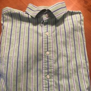 POLO/RALPH LAUREN GREEN W/BLUE AND WHITE STRIPES